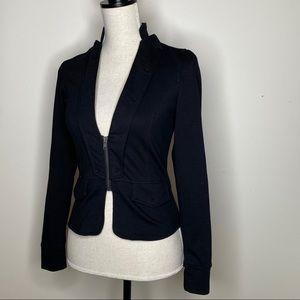 BLACK Zip Puff Shoulder Zip Cardigan Jacket XS